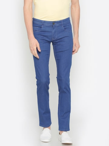 Parx Men Blue Slim Tapered Fit Mid-Rise Clean Look Stretchable Jeans Parx Jeans at myntra