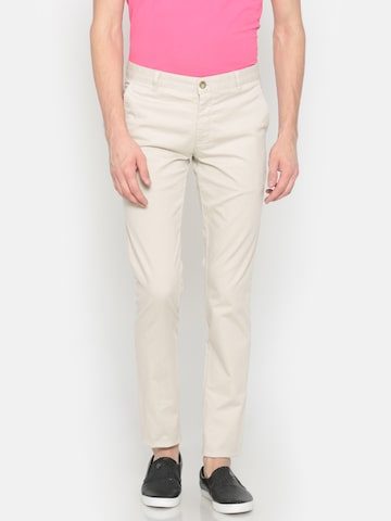 Parx Men Beige Lowell Tapered Fit Solid Chinos Parx Trousers at myntra