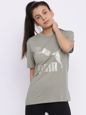 Puma Women Grey Classics Logo T-shirt Puma Tshirts at myntra