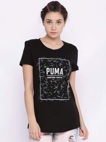 Puma Women Black Printed FUSION Graphic T-shirt Puma Tshirts at myntra