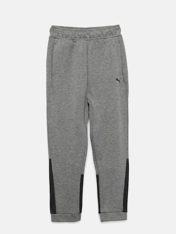 Puma Boys Grey Melange & Black Tech Slim Fit Joggers Puma Track Pants at myntra