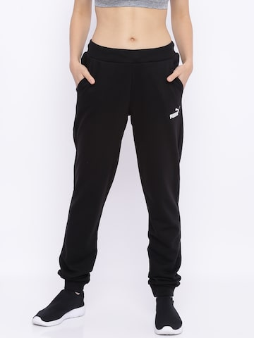 Puma Women Black Solid Sweat Pants Joggers Puma Track Pants at myntra