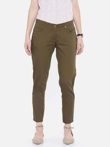Park Avenue Women Olive Green Tapered Fit Solid Formal Trousers Park Avenue Trousers at myntra