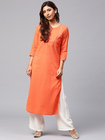 Jaipur Kurti Women Orange Self-Striped Straight Kurta Jaipur Kurti Kurtas at myntra