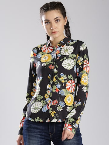 Levis Women Black Regular Fit Printed Casual Shirt Levis Shirts at myntra