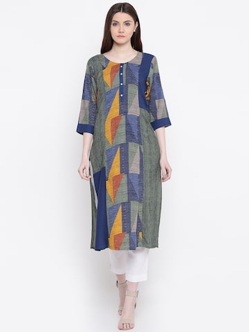 Shree Women Green & Blue Printed Straight Kurta Shree Kurtas at myntra