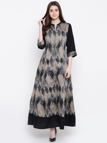 Shree Women Black & Beige Ikat Woven Design A-Line Kurta Shree Kurtas at myntra