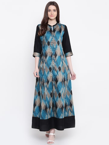 Shree Women Black & Teal Green Printed A-Line Kurta Shree Kurtas at myntra