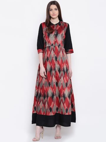 Shree Women Black & Maroon Printed A-Line Kurta Shree Kurtas at myntra
