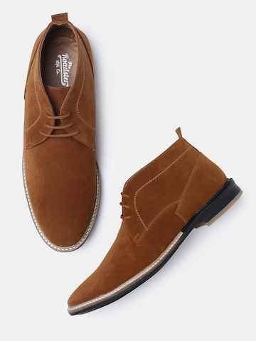 Roadster Men Brown Solid Synthetic Mid-Top Flat Boots Roadster Casual Shoes at myntra
