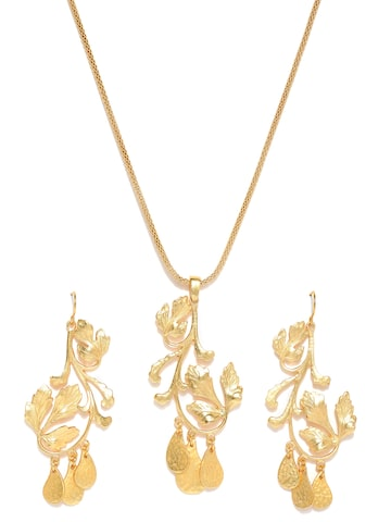 Estelle By Nitya Arora Gold-Plated Leaf-Shaped Jewellery Set Estelle Jewellery Set at myntra