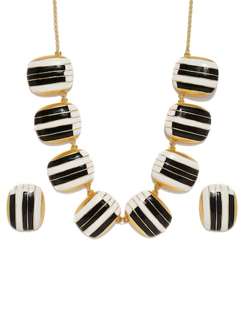 Estelle By Nitya Arora Black White Gold-Plated Jewellery Set Estelle Jewellery Set at myntra