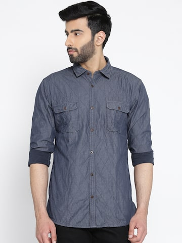 Blackberrys Men Blue Slim Fit Solid Quilted Chambray Casual Shirt Blackberrys Shirts at myntra