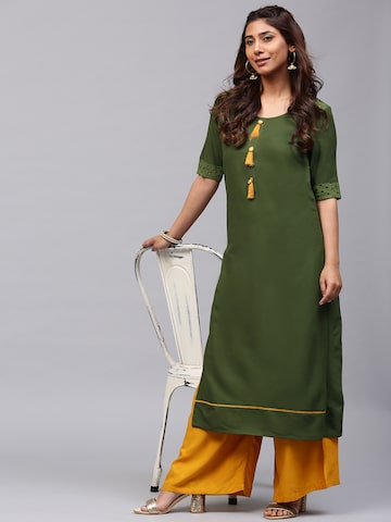 AKS Women Olive Green Solid Straight Kurta with Tassels AKS Kurtas at myntra