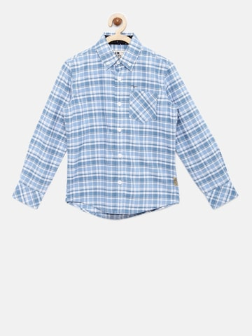 Flying Machine Boys Blue & White Regular Fit Checked Casual Shirt Flying Machine Shirts at myntra