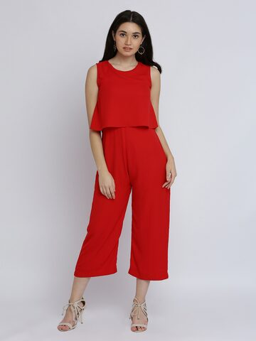 Miss Chase Red Solid Culotte Jumpsuit Miss Chase Jumpsuit at myntra