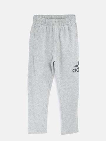 Adidas Boys Grey Melange Logo Training Track Pants Adidas Track Pants at myntra