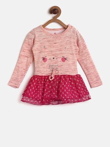 UFO Girls Peach-Coloured & Pink Printed Drop-Waist Dress UFO Dresses at myntra