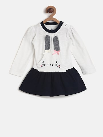 UFO Girls White Colourblocked Fit and Flare Dress UFO Dresses at myntra