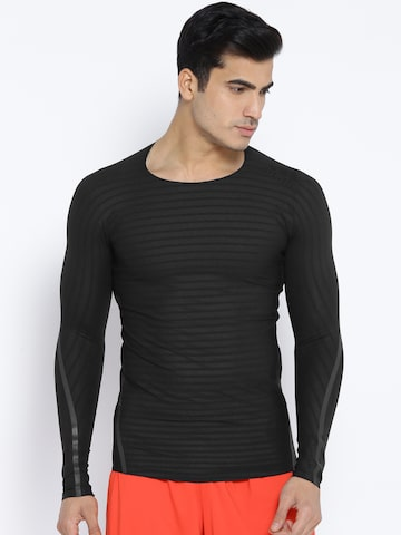 Adidas Men Black Alphaskin 360 Self-Striped Training T-shirt Adidas Tshirts at myntra