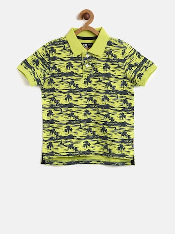 Flying Machine Boys Yellow & Black Printed Polo T-shirt Flying Machine Tshirts at myntra