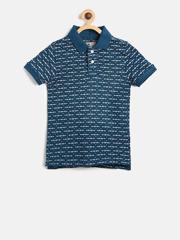 Flying Machine Boys Blue Printed Polo Collar T-shirt Flying Machine Tshirts at myntra