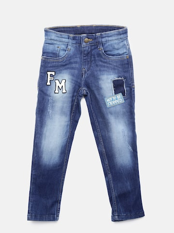 Flying Machine Boys Blue Regular Fit Mid-Rise Mildly Distressed Stretchable Jeans Flying Machine Jeans at myntra
