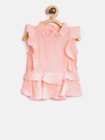 Gini and Jony Girls Peach-Coloured Solid A-Line Top Gini and Jony Tops at myntra