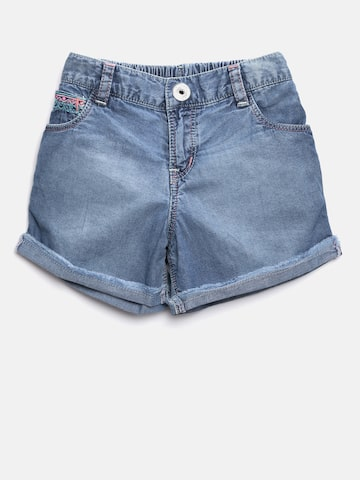 Palm Tree Girls Blue Washed Denim Shorts Palm Tree Shorts at myntra