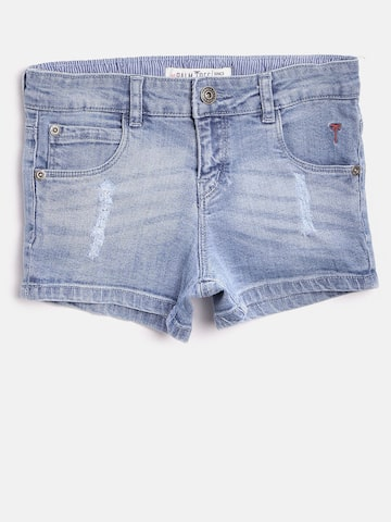 Palm Tree Girls Blue Washed Regular Fit Denim Shorts Palm Tree Shorts at myntra