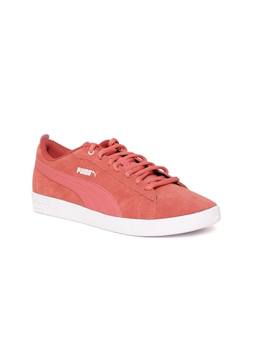 Puma Women Coral Pink Smash V2 Suede Leather Sneakers Puma Casual Shoes at myntra