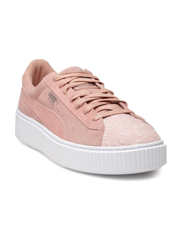 Puma Women Dusty Pink Suede Platform Pebble Sneakers Puma Casual Shoes at myntra
