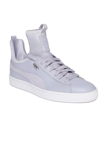 Puma Women Blue Basket Fierce Solid Leather Sneakers Puma Casual Shoes at myntra