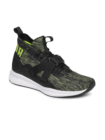 Puma Unisex Black & Lime Green IGNITE evoKNIT 2 City Lgt FM Sneakers Puma Casual Shoes at myntra