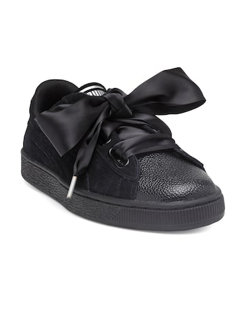 Puma Women Black Suede Heart Bubble Sneakers Puma Casual Shoes at myntra