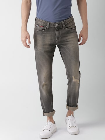 Tommy Hilfiger Men Grey Slim Fit Low-Rise Clean Look Stretchable Jeans Tommy Hilfiger Jeans at myntra