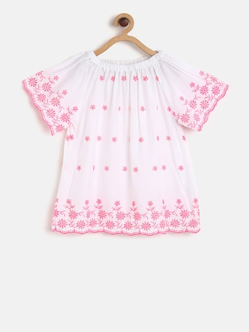Bossini Girls White & Pink Printed Top Bossini Tops at myntra