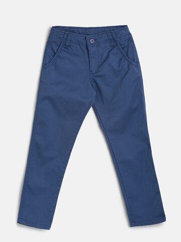 Bossini Boys Blue Regular Fit Solid Regular Trousers Bossini Trousers at myntra
