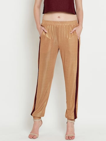 The Vanca Women Gold-Toned Relaxed Regular Fit Solid Joggers The Vanca Trousers at myntra