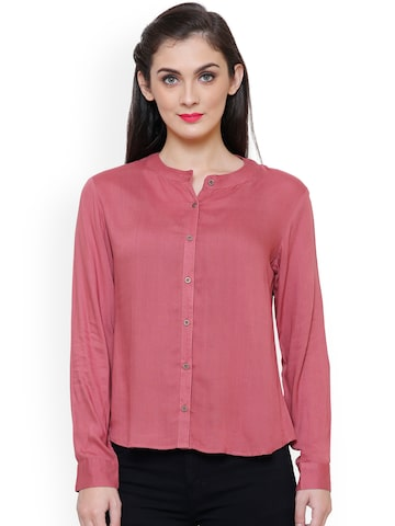 TshirtCompany Women Peach-Coloured Standard Regular Fit Solid Casual Shirt TshirtCompany Shirts at myntra