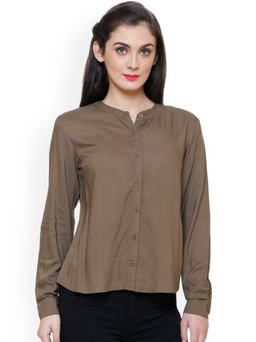 TshirtCompany Women Olive Brown Standard Regular Fit Solid Casual Shirt TshirtCompany Shirts at myntra