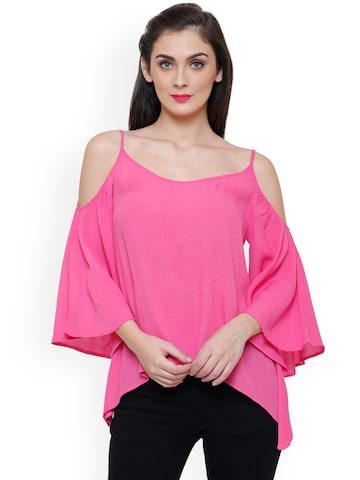 TshirtCompany Women Pink Solid Cold Shoulder Top TshirtCompany Tops at myntra