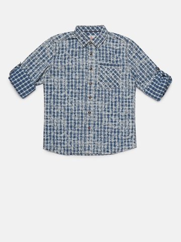 UFO Boys Blue & Off-White Regular Fit Checked Casual Shirt UFO Shirts at myntra
