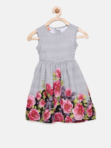 UFO Girls Grey Printed Fit and Flare Dress UFO Dresses at myntra