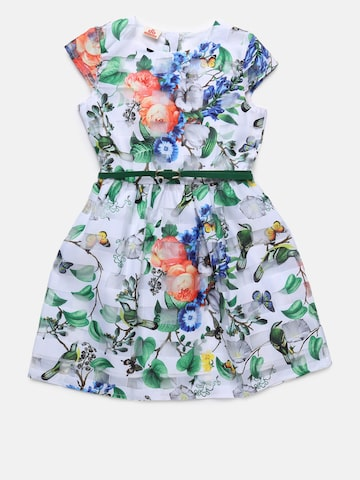 UFO Girls Green Printed Fit and Flare Dress UFO Dresses at myntra
