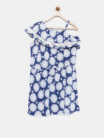UFO Girls Navy Blue Printed Fit and Flare Dress UFO Dresses at myntra