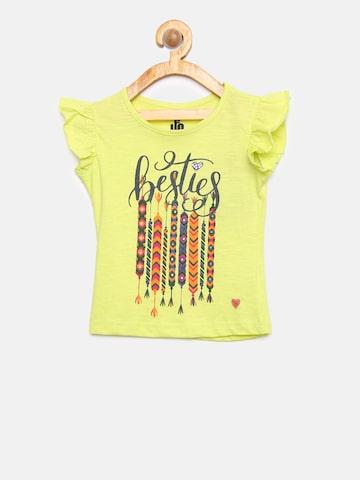 UFO Girls Lime Green Printed Round Neck T-shirt UFO Tshirts at myntra