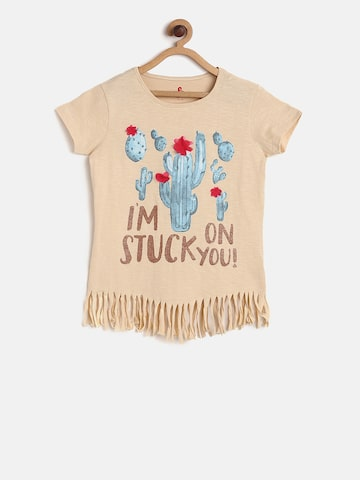 UFO Girls Peach-Coloured Printed Round Neck T-shirt UFO Tshirts at myntra