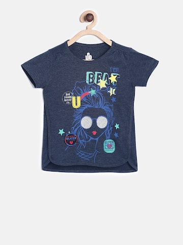 UFO Girls Navy Blue Printed Round Neck T-shirt UFO Tshirts at myntra