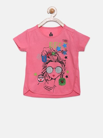 UFO Girls Pink Printed Round Neck T-shirt UFO Tshirts at myntra